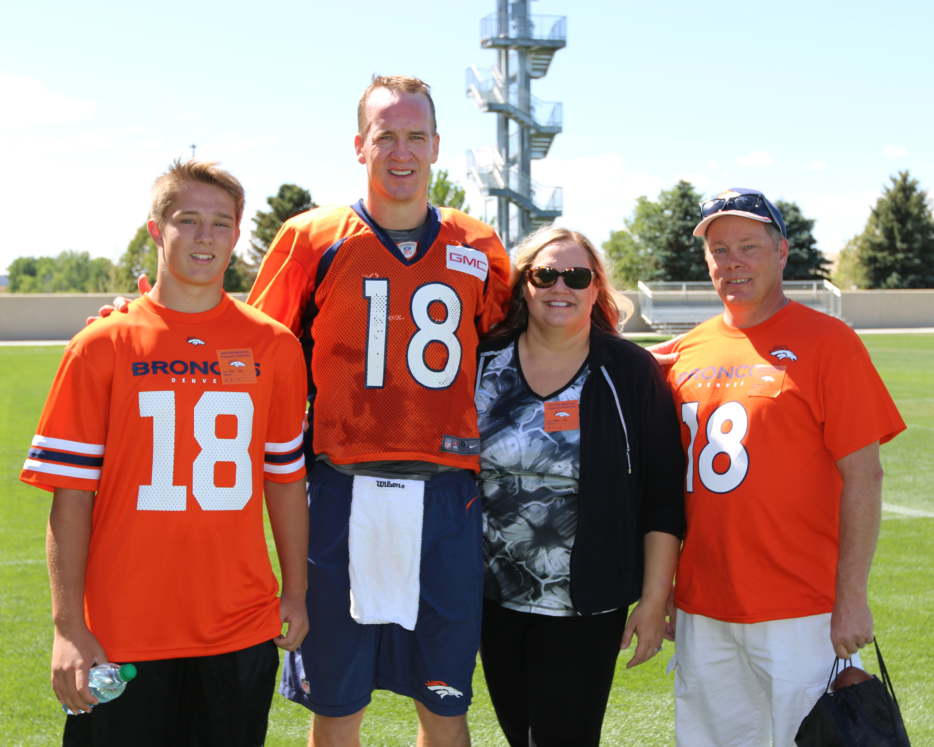 Sheri Kaye Hoff , Peyton Manning , and family at #broncos practice Sept 1, 2015. 7 weeks after her near death experience #healing #miracles #nde https://wp.me/p71qJb-cJ